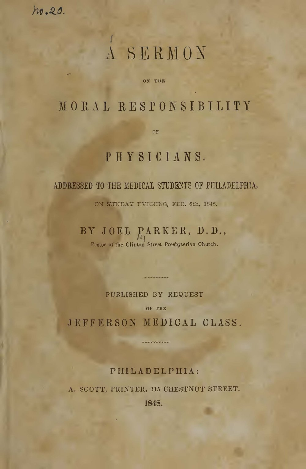 Parker, Joel, A Sermon on the Moral Responsibility of Physicians Title Page.jpg