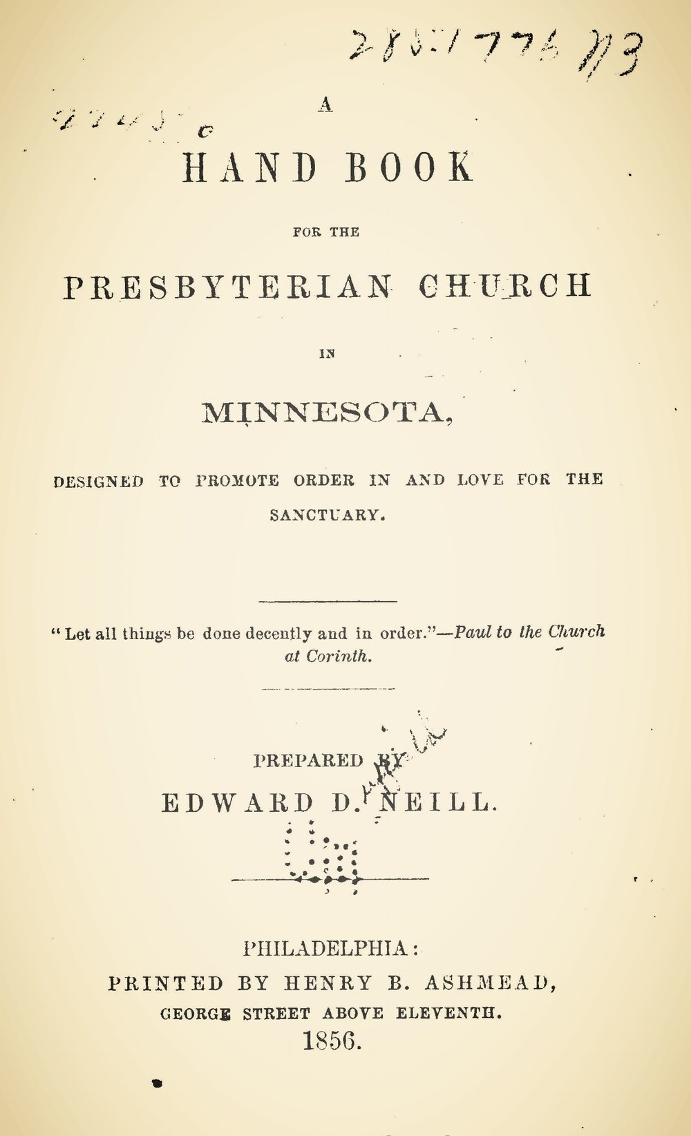 Neill, Edward Duffield, A Handbook for the Presbyterian Church in Minnesota Title Page.jpg