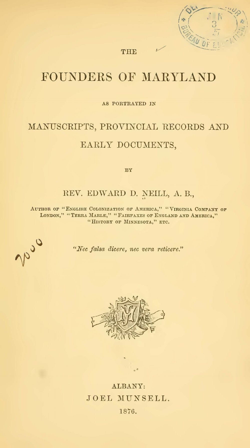 Neill, Edward Duffield, The Founders of Maryland Title Page.jpg