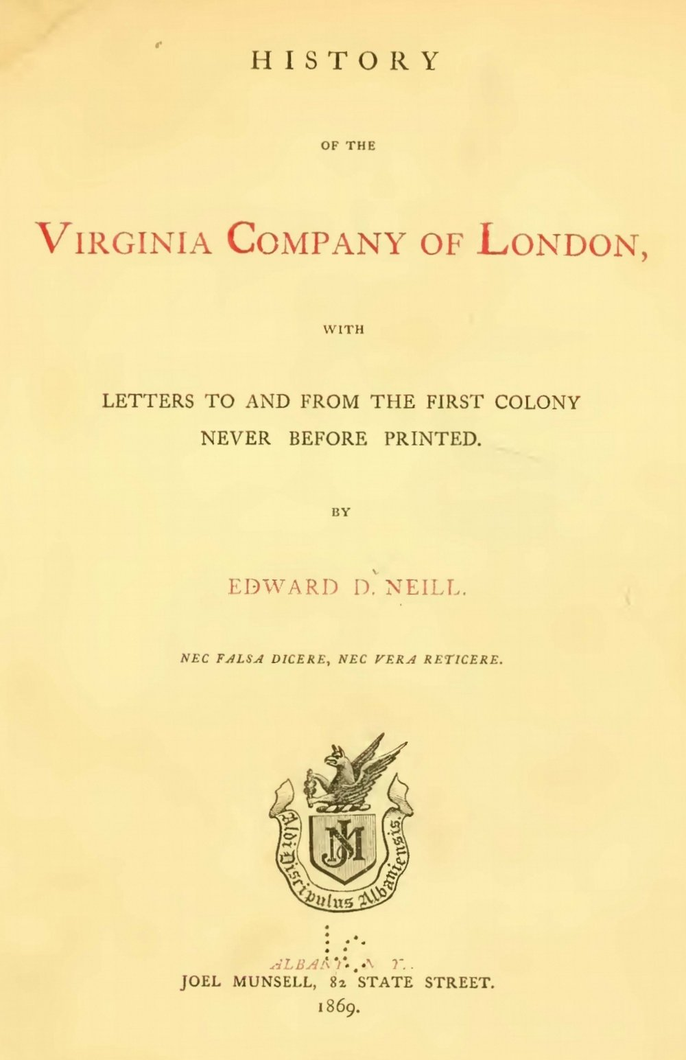 Neill, Edward Duffield, History of the Virginia Company of London Title Page.jpg