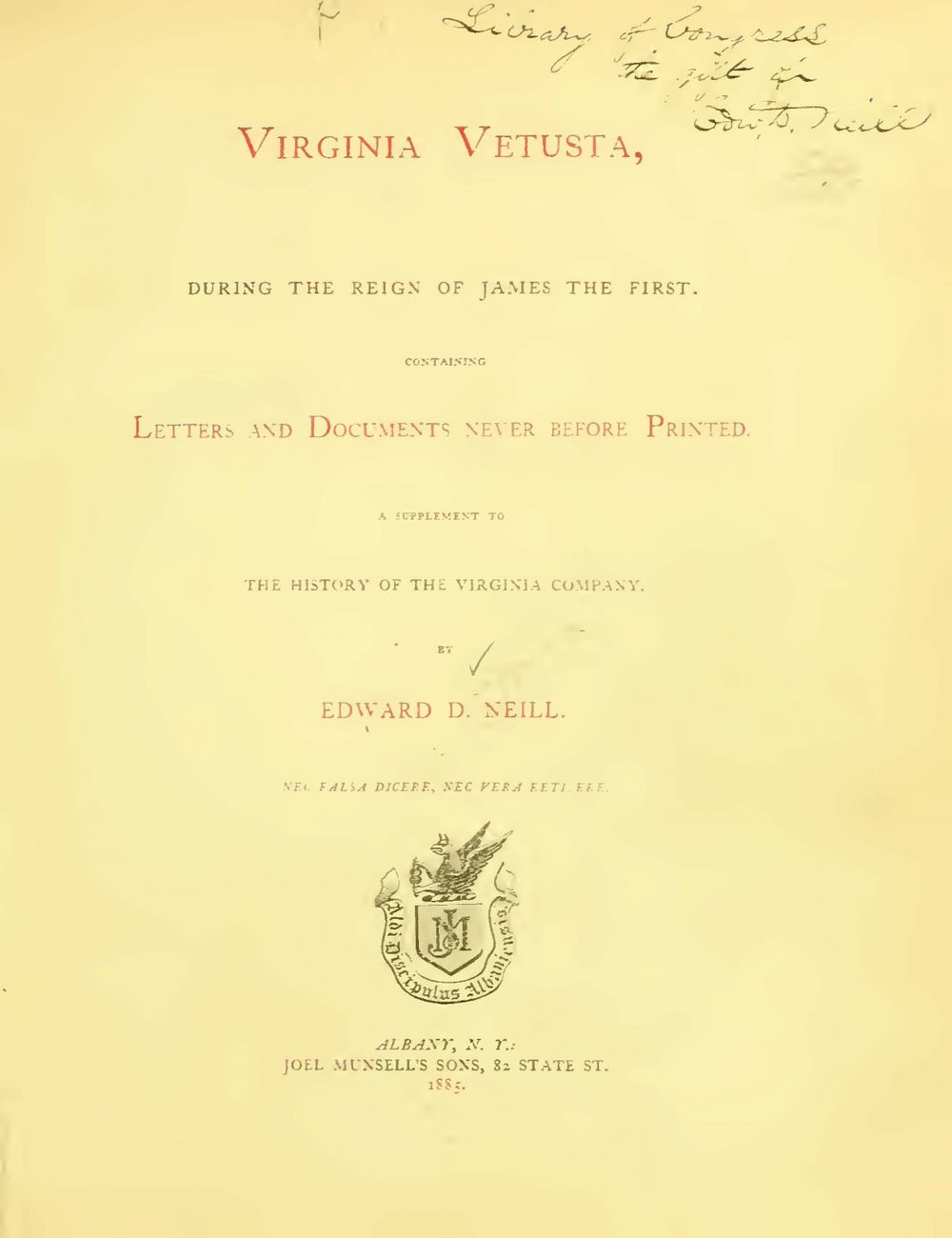 Neill, Edward Duffield, Virginia Vetusta During the Reign of James the First Title Page.jpg