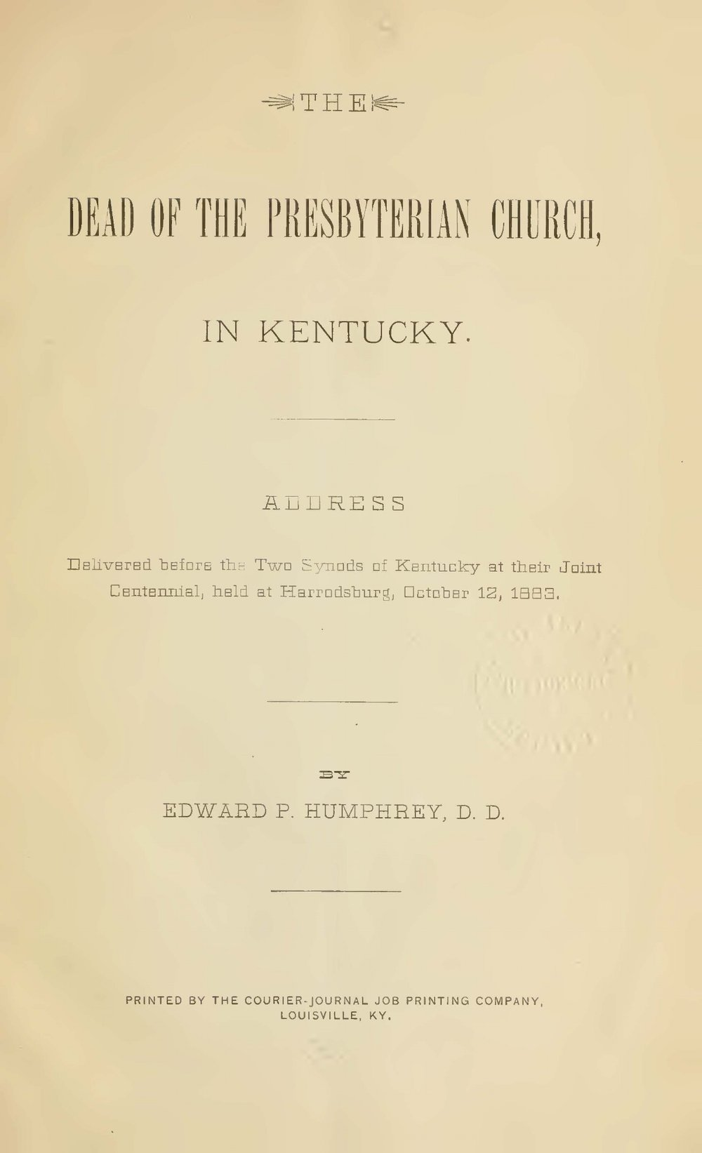 Humphrey, Edward Porter, The Dead of the Presbyterian Church in Kentucky Title Page.jpg