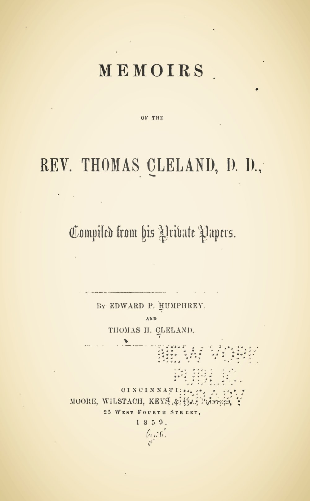Humphrey, Edward Porter, Memoirs of the Rev. Thomas Cleland, D.D. Title Page.jpg