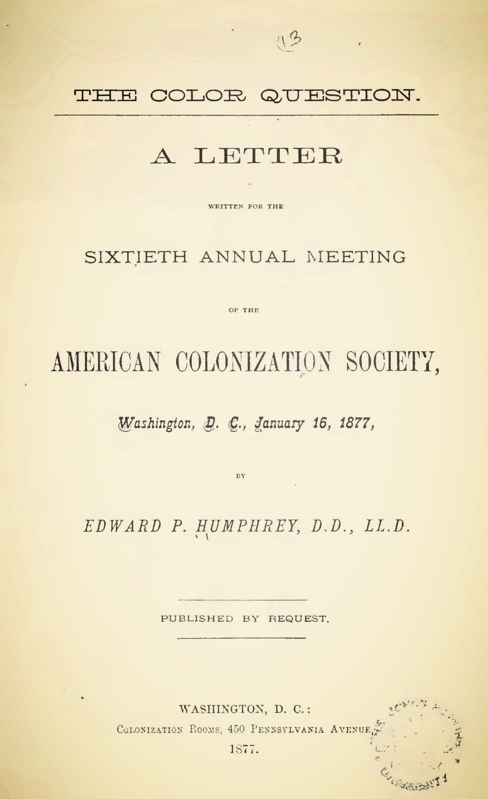 Humphrey, Edward Porter, The Color Question Title Page.jpg