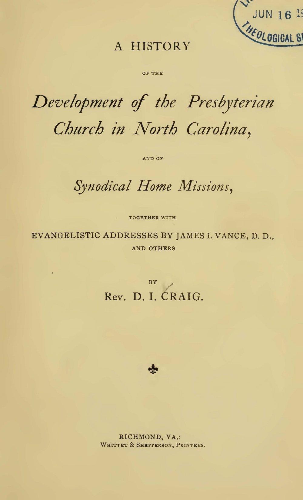 Craig, David Irwin, A History of the Development of the Presbyterian Church in North Carolina Title Page.jpg