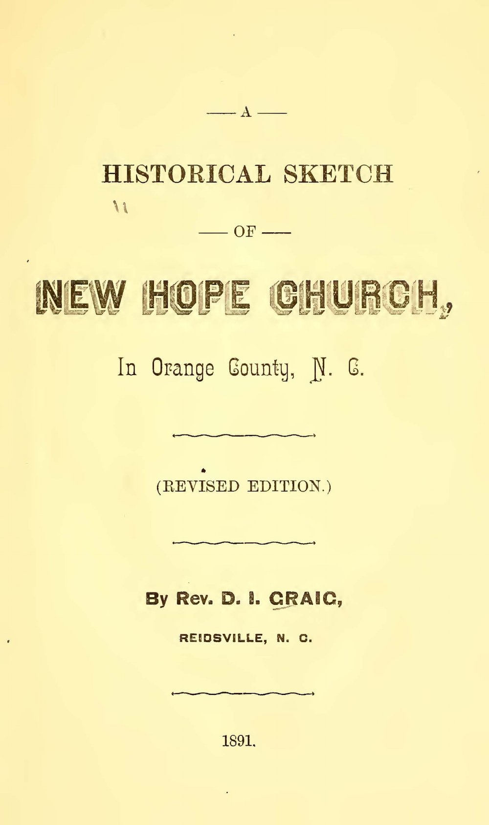 Craig, David Irwin, A Historical Sketch of New Hope Church Title Page.jpg