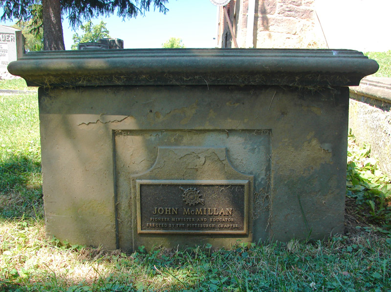 John McMillan is buried at Chartiers Hill Cemetery, Canonsburg, Pennsylvania.