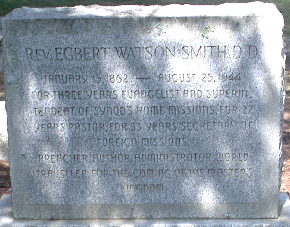Egbert Watson Smith is buried at Green Hill Cemetery, Greensboro, North Carolina.