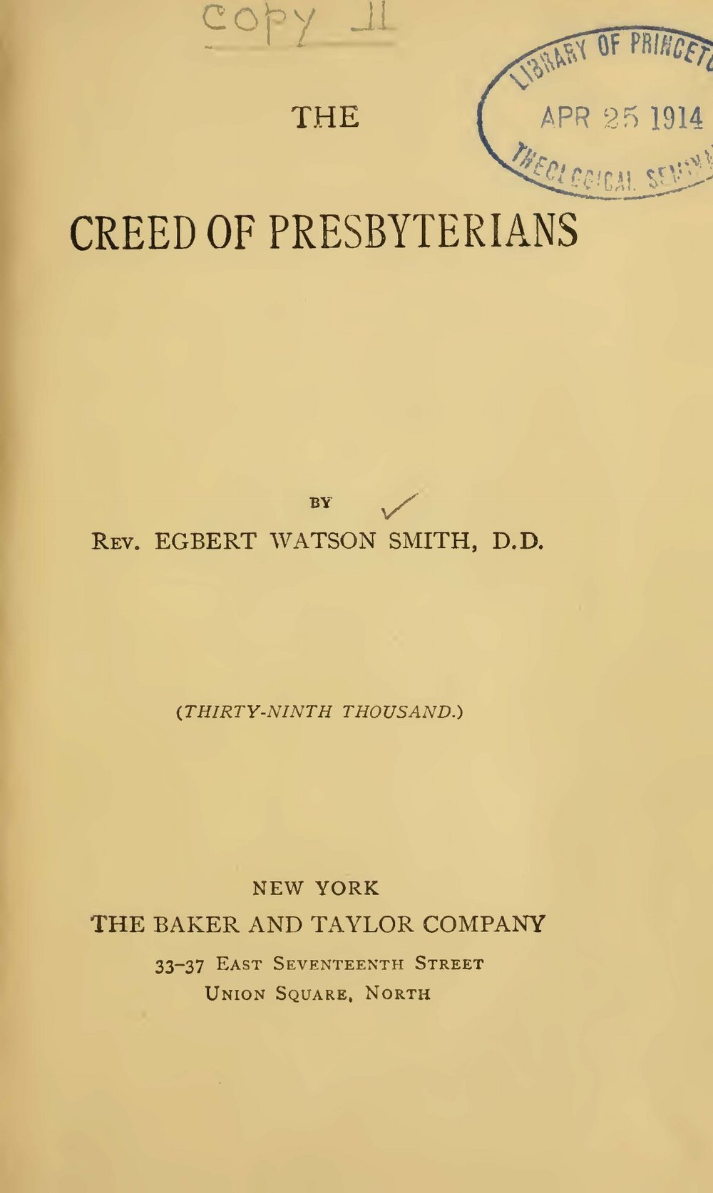Smith, Egbert Watson, The Creed of Presbyterians Title Page.jpg