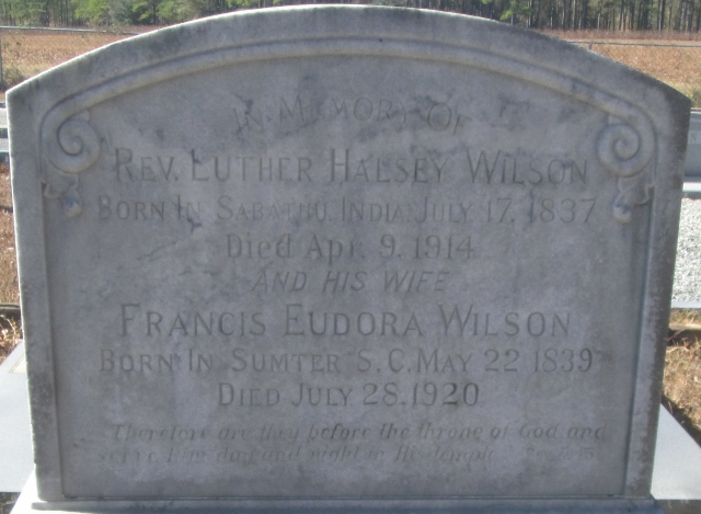 Luther Halsey Wilson is buried at Old Dickey Presbyterian Cemetery, Calhoun County, Georgia.