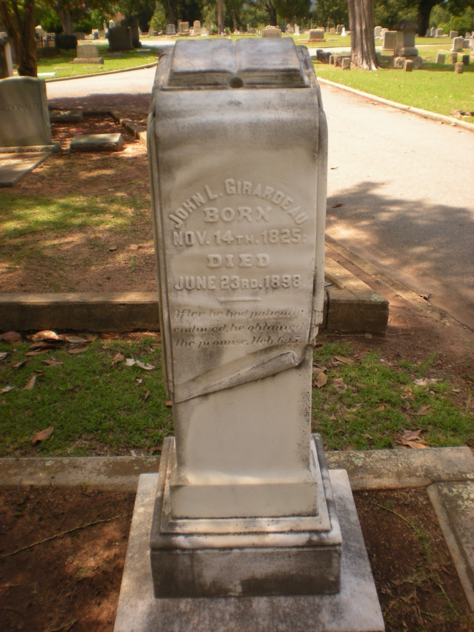 John Lafayette Girardeau is buried at Elmwood Memorial Gardens, Columbia, South Carolina.