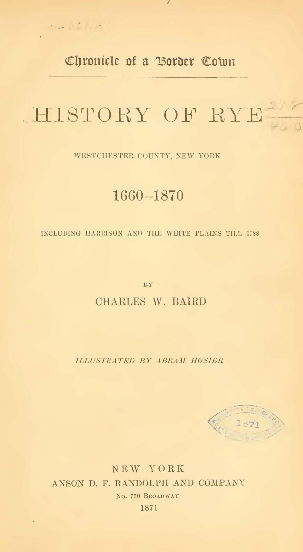 Baird, Charles Washington, Chronicle of a Border Town Title Page.jpg