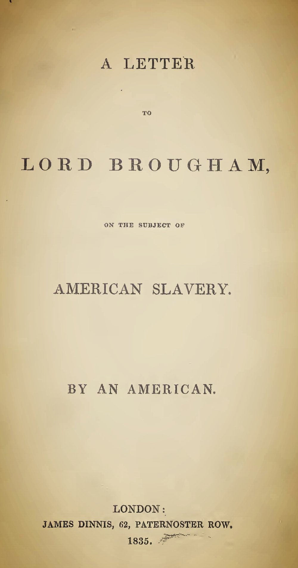 Baird, Robert, A Letter to Lord Brougham on the Subject of American Slavery Title Page.jpg
