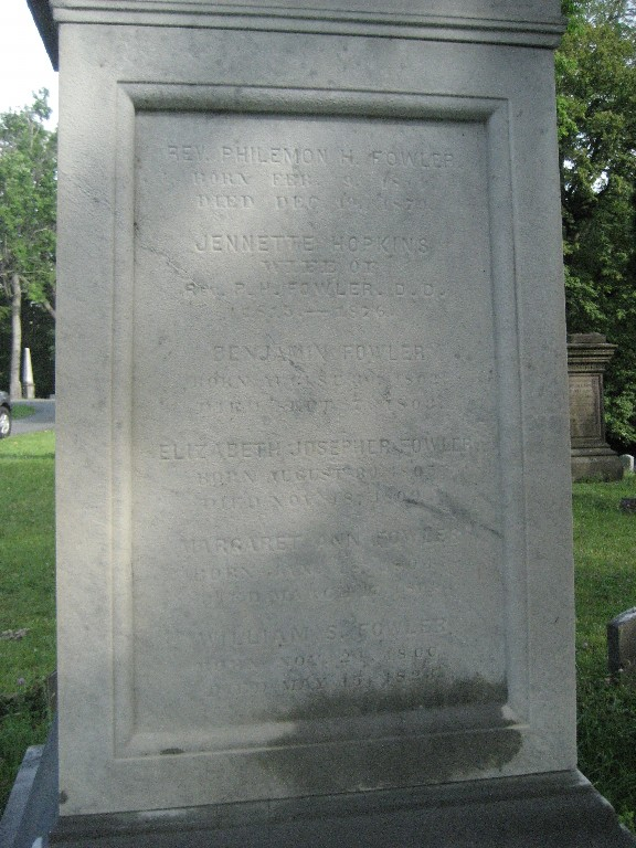 Philemon Halsted Fowler is buried at Albany Rural Cemetery, Menands, New York.