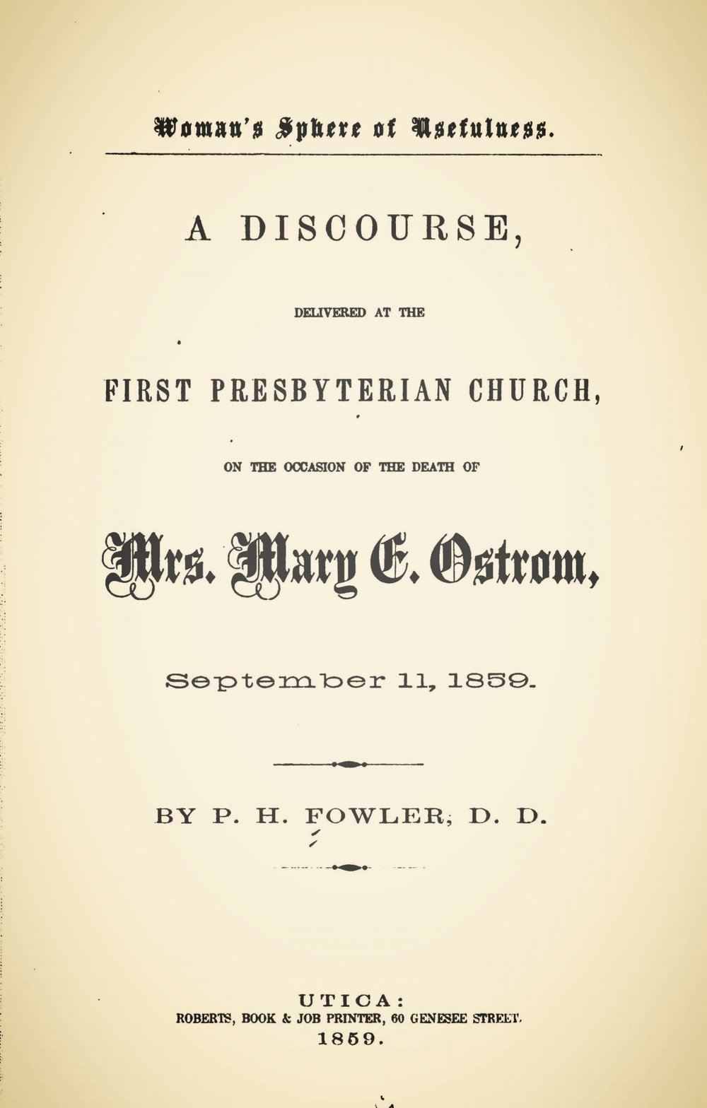 Fowler, Philemon Halsted, Woman's Sphere of Usefulness Title Page.jpg