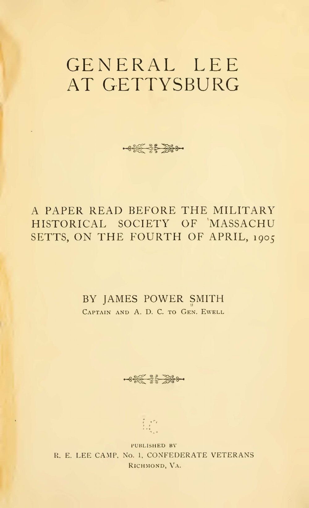 Smith, James Power, General Lee at Gettysburg Title Page.jpg