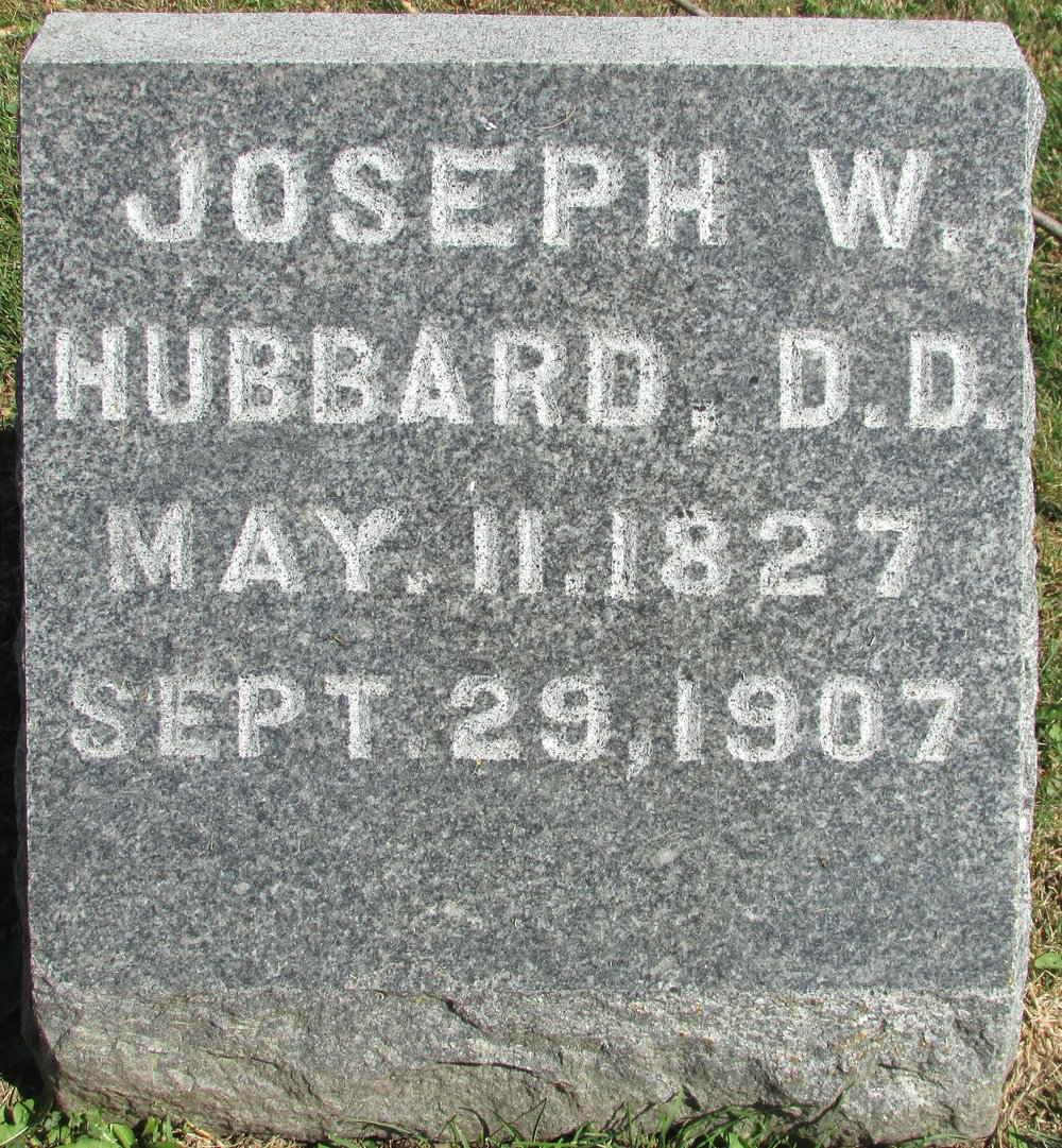 Joseph Welton Hubbard is buried at Mount Vernon Cemetery, Mount Vernon, Iowa.