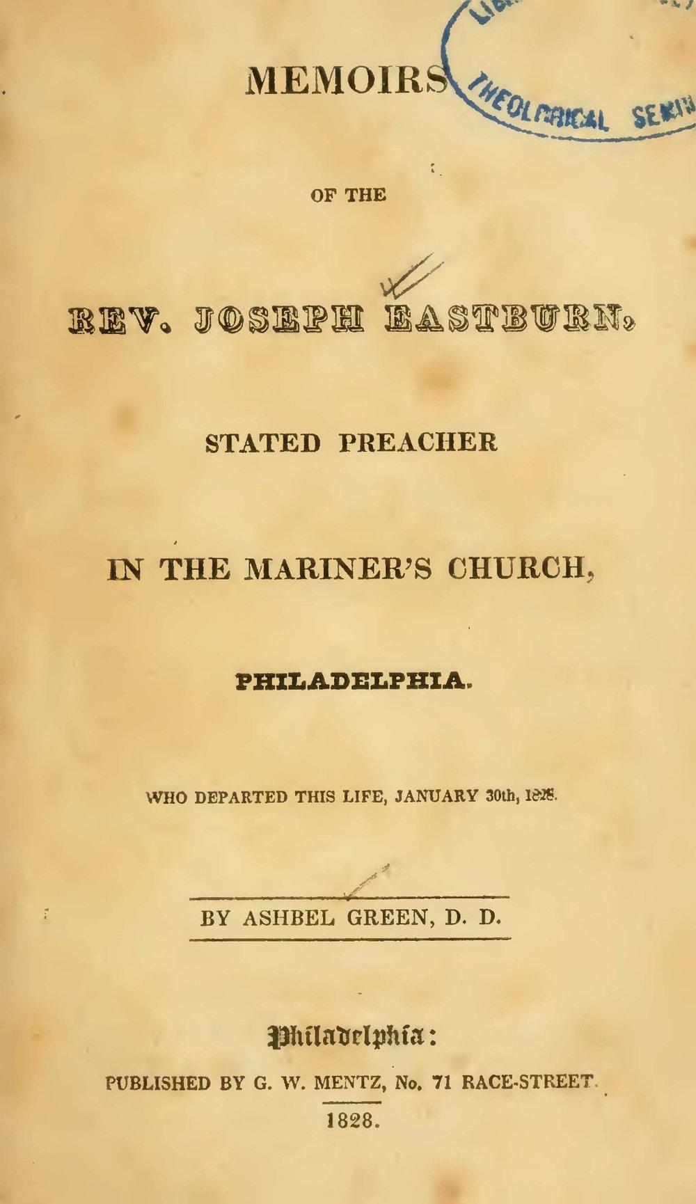 Green, Ashbel, Memoirs of the Rev. Joseph Eastburn Title Page.jpg