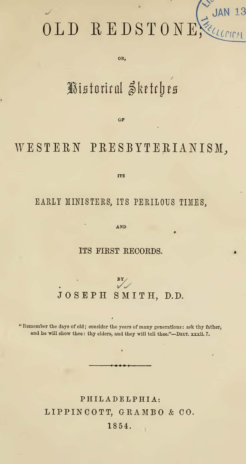 Smith, Joseph, Old Redstone; or, Historical Sketches of Western Presbyterianism Title Page.jpg