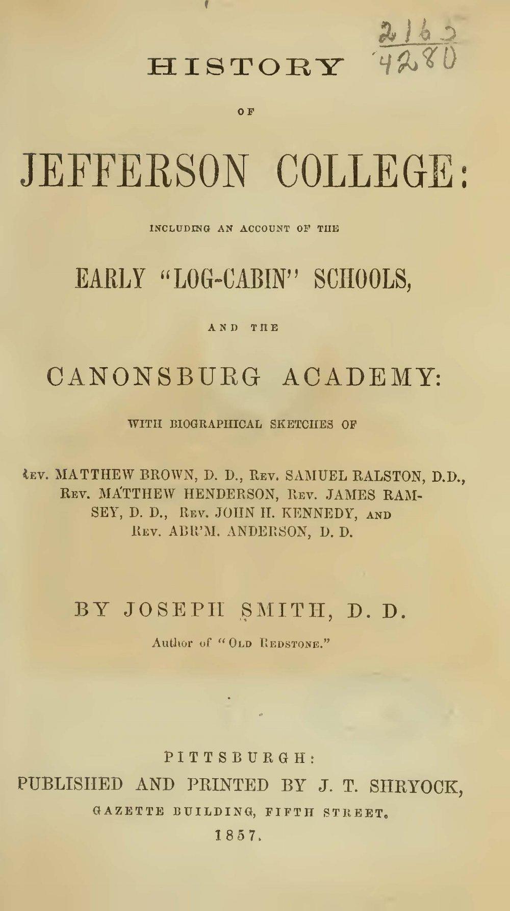Smith, Joseph, History of Jefferson College Title Page.jpg
