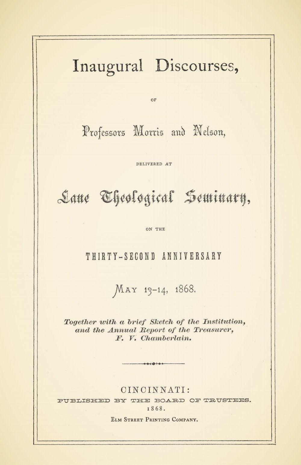 Morris, Edward Dafydd, Inaugural Discourses Title Page.jpg
