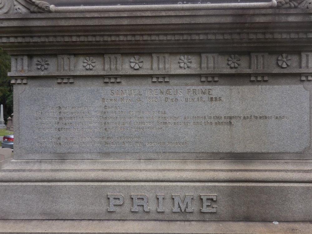 Samuel Irenaeus Prime was buried at Woodlawn Cemetery, Bronx, New York.