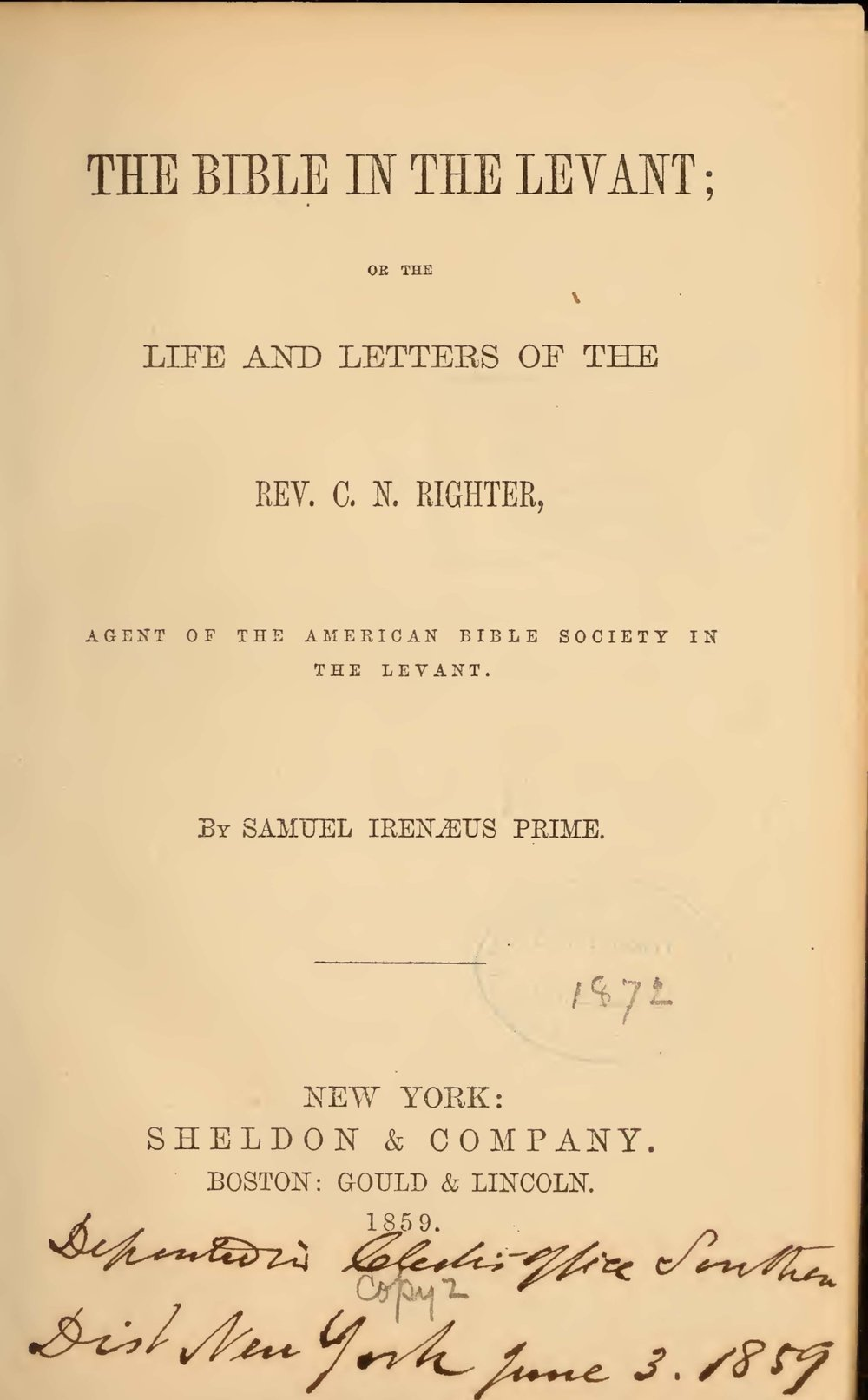 Prime, Samuel Irenaeus, The Bible in the Levant Title Page.jpg