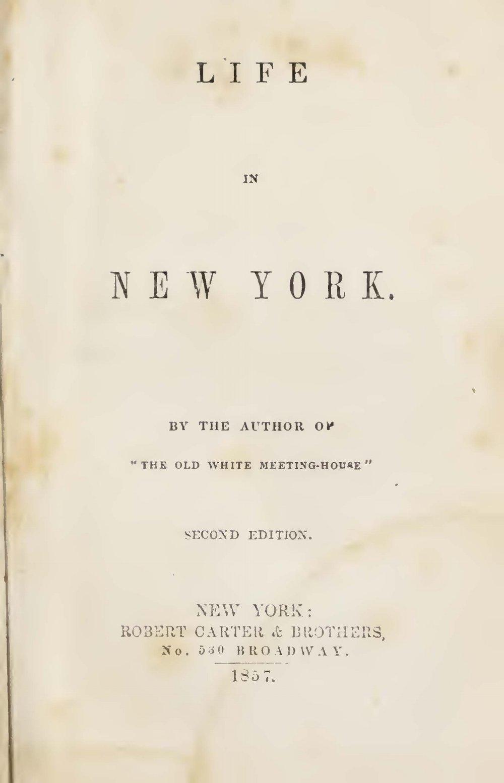 Prime, Samuel Irenaeus, Life in New York Title Page.jpg