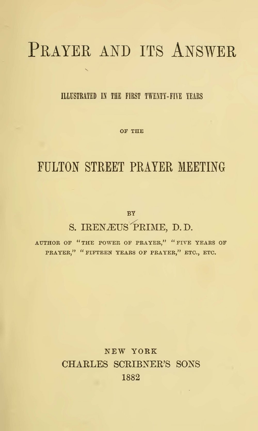 Prime, Samuel Irenaeus, Prayer and Its Answer Title Page.jpg