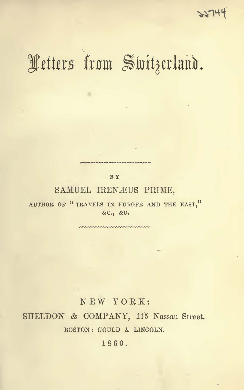 Prime, Samuel Irenaeus, Letters From Switzerland Title Page.jpg