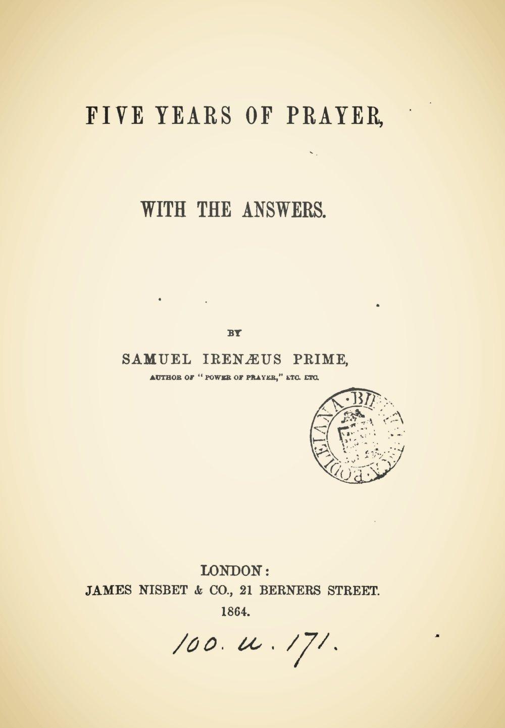 Prime, Samuel Irenaeus, Five Years of Prayer Title Page.jpg
