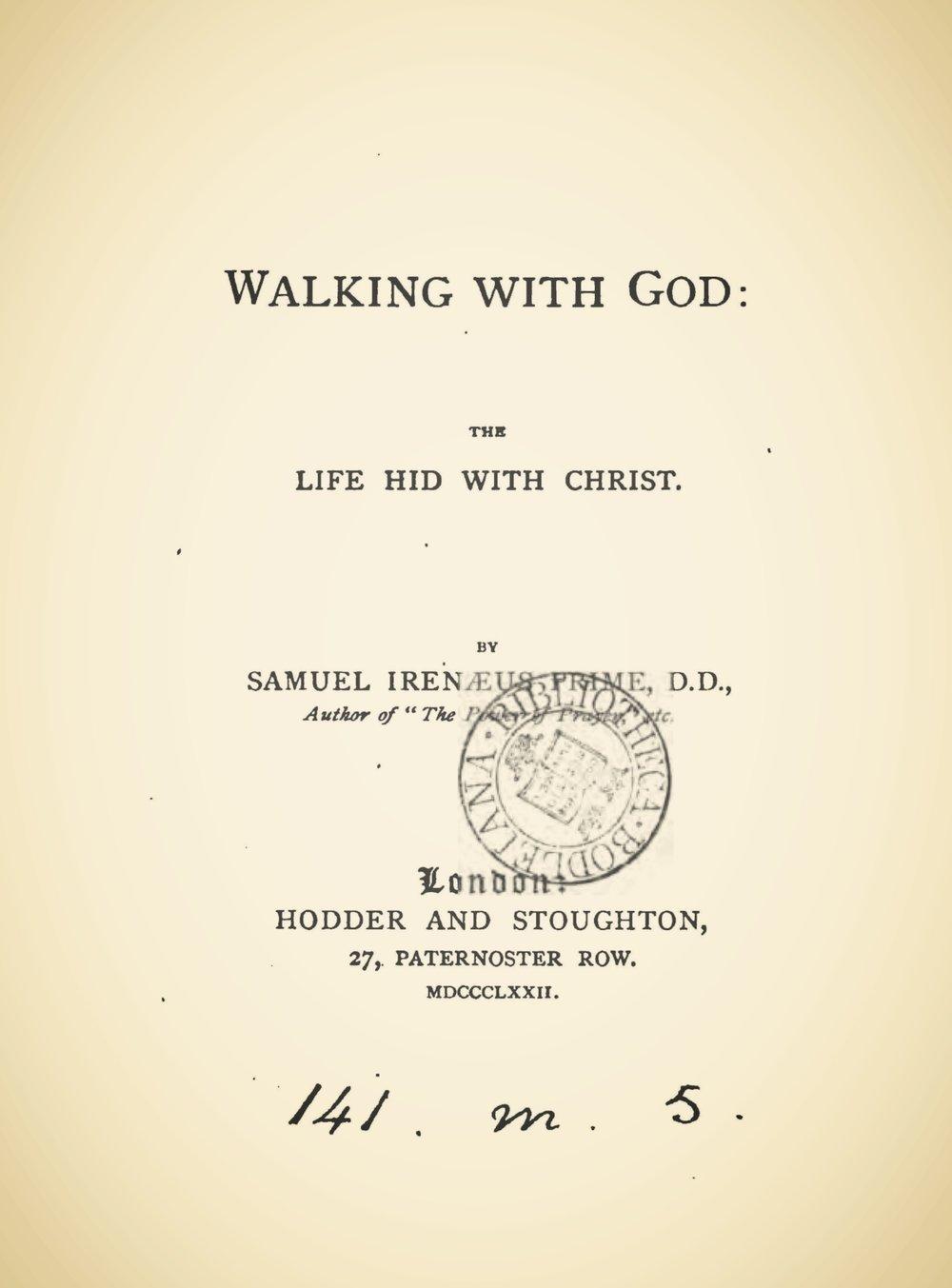 Prime, Samuel Irenaeus, Walking With God Title Page.jpg