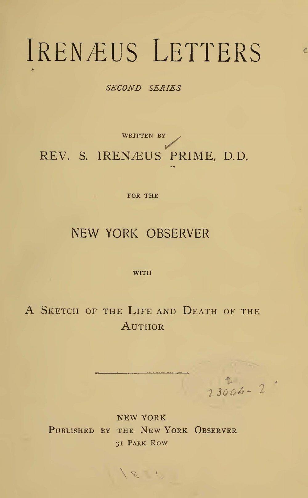 Prime, Samuel Irenaeus, Irenaeus Letters Second Series Title Page.jpg