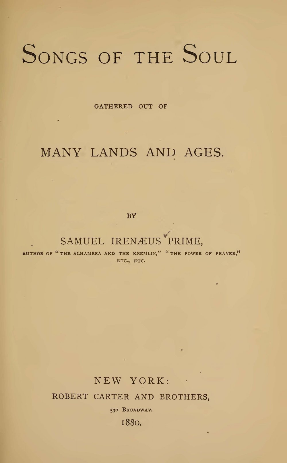 Prime, Samuel Irenaeus, Songs of the Soul Title Page.jpg