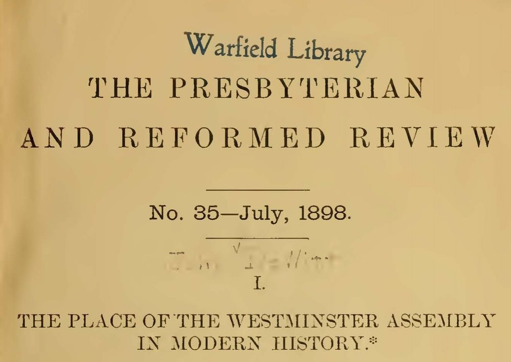 DeWitt, John, The Place of the Westminster Assembly in Modern History Title Page.jpg
