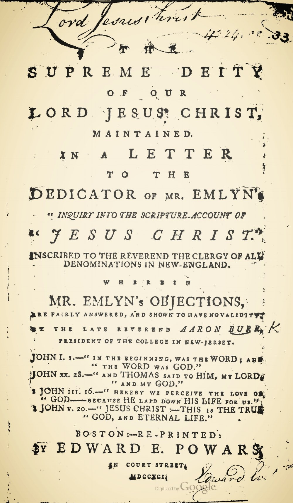 Burr, Sr., Aaron, The Supreme Deity of Our Lord Jesus Christ Title Page.jpg