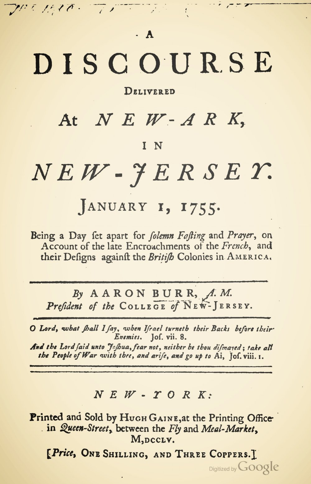 Burr, Sr., Aaron, A Discourse Delivered at New-Ark, in New Jersey, January 1, 1755 Title Page.jpg