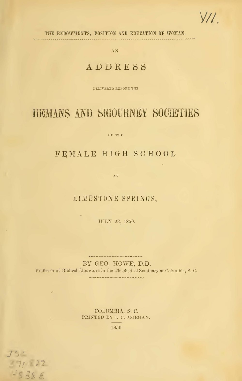 Howe, George, The Endowments, Position and Education of Woman Title Page.jpg