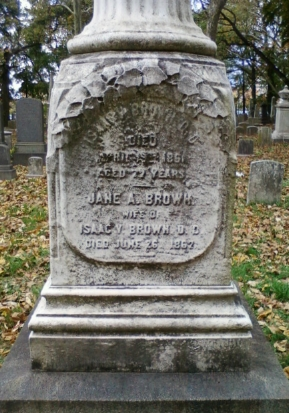 Isaac Van Arsdale Brown was originally buried at Mercer Cemetery, Trenton, Mercer County, New Jersey. In 2011, his remains were re-interred at Lawrenceville Cemetery, Lawrenceville, New Jersey.