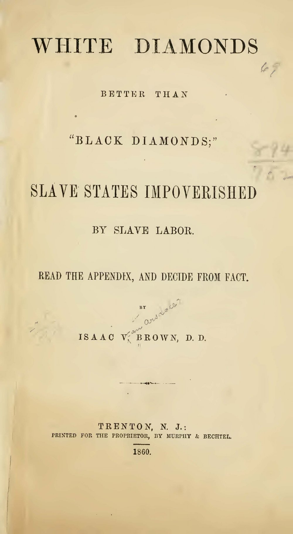 Brown, Isaac Van Arsdale, White Diamonds Better Than Black Diamonds Title Page.jpg