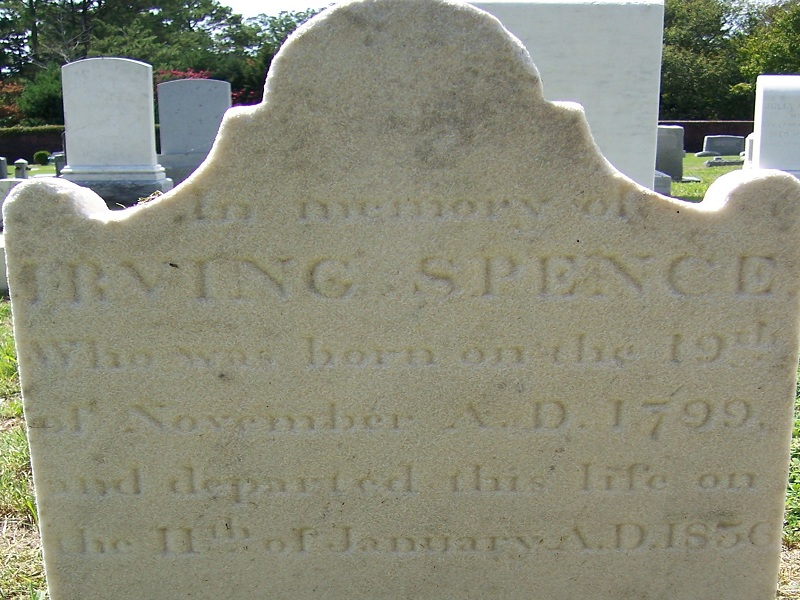 Irving Spence is buried at Makemie Memorial Cemetery, Snow Hill, Maryland.
