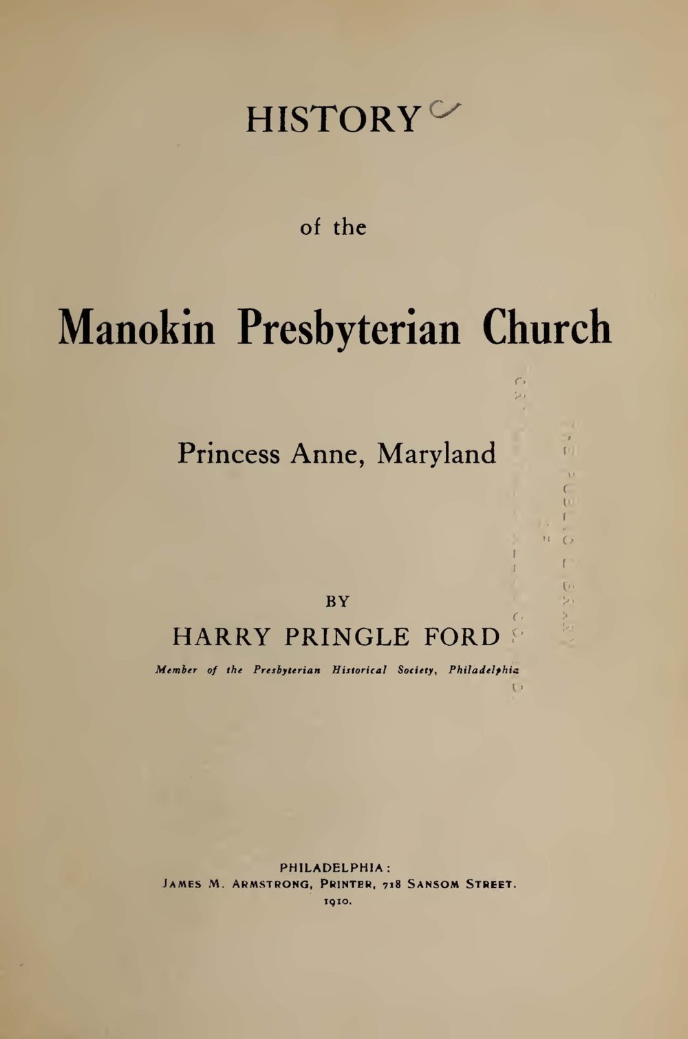 Ford, Harry Pringle, History of the Manokin Presbyterian Church Title Page.jpg