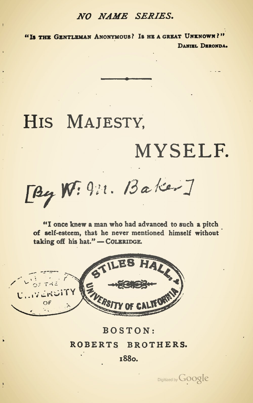Baker, William Munford, His Majesty, Myself Title Page.jpg