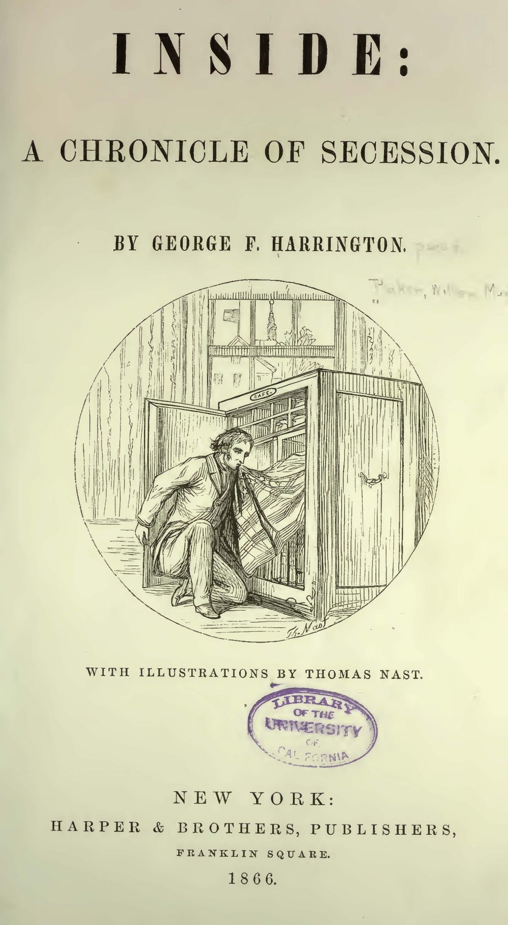 Baker, William Munford, Inside a Chronicle of Secession Title Page.jpg