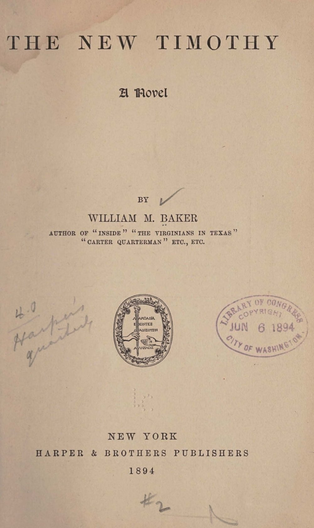 Baker, William Munford, The New Timothy A Novel Title Page.jpg