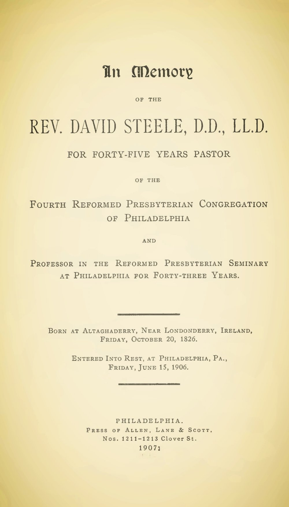 Steele, David, In Memory of the Rev. David Steele, D.D., L.L.D. TItle Page.jpg