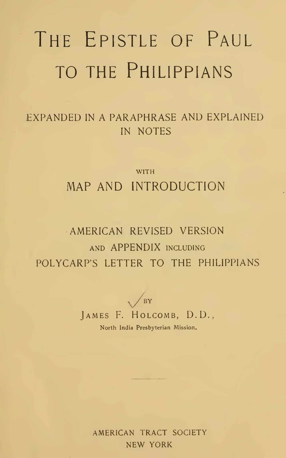 Holcomb, James Foote, The Epistle of Paul to the Philippians Title Page.jpg