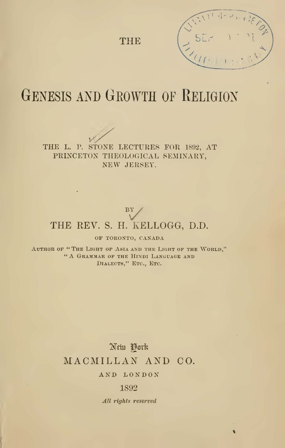 Kellogg, Samuel Henry, The Genesis and Growth of Religion Title Page.jpg