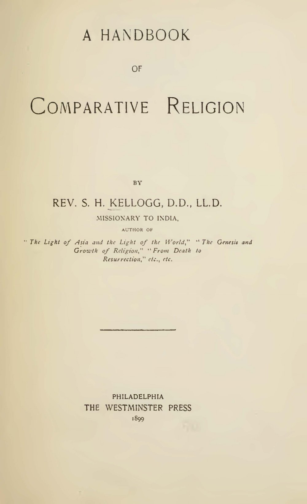 Kellogg, Samuel Henry, A Handbook of Comparative Religion Title Page.jpg