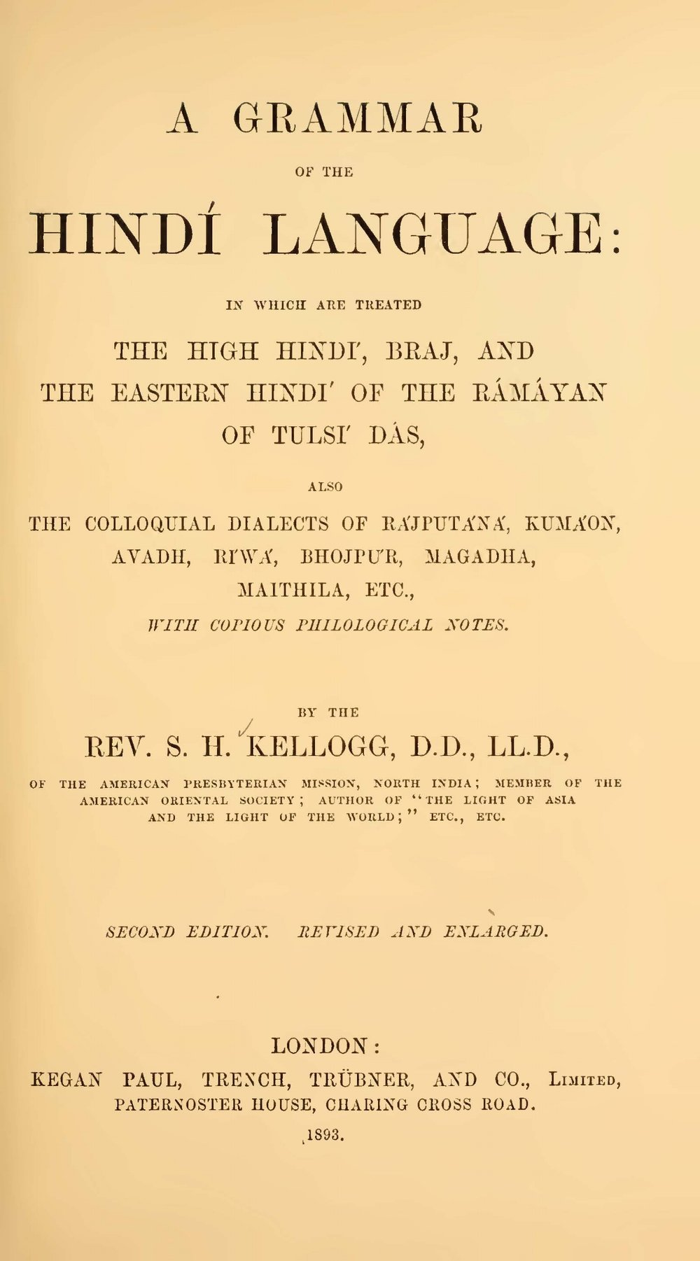 Kellogg, Samuel Henry, A Grammar of the Hindi Language Title Page.jpg